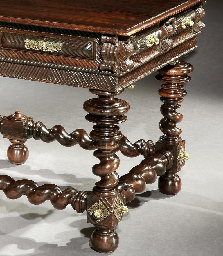 Table, Centre, Library, Desk, 17 Century, Portuguese, Baroque, Brazil, Rosewood In Good Condition For Sale In Eversholt, Bedfordshire