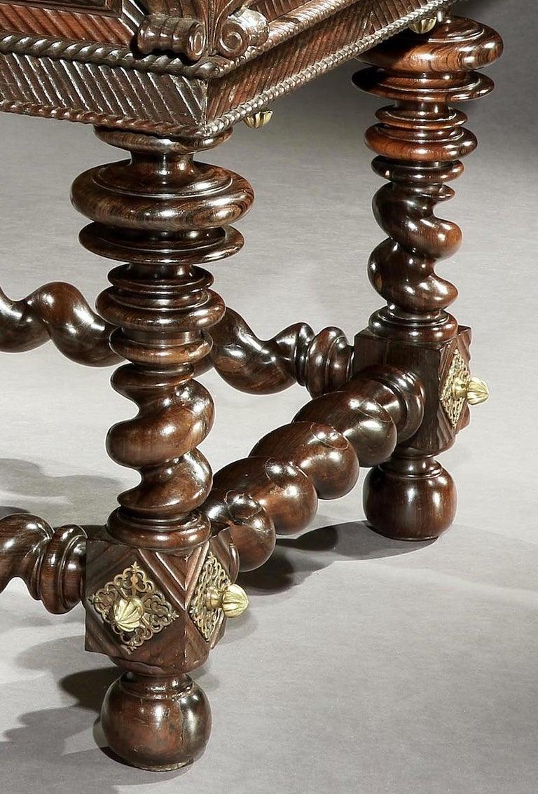 17th Century Table, Centre, Library, Desk, 17 Century, Portuguese, Baroque, Brazil, Rosewood For Sale
