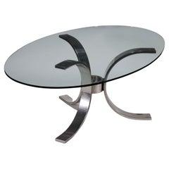 Table Chromed Aluminium Metal Glass, Italy, 1970s-1980s