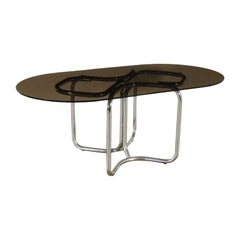 Table Chromed Metal Smoked Glass, Italy, 1970s
