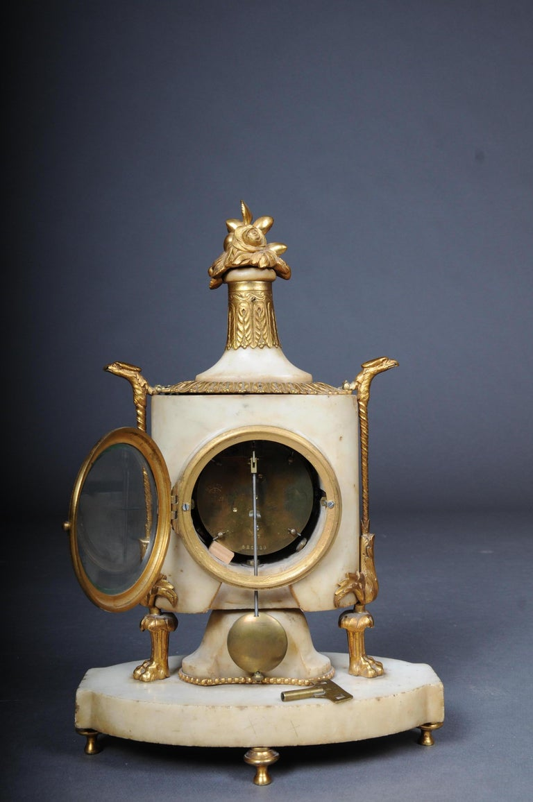 Table Clock / Fireplace Clock in Empire Style Around 1900 For Sale 4
