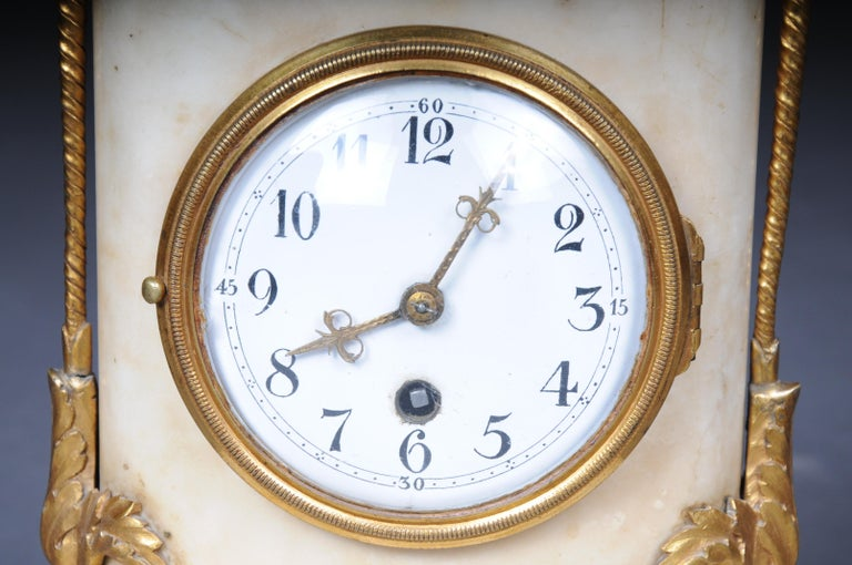Marble Table Clock / Fireplace Clock in Empire Style Around 1900 For Sale