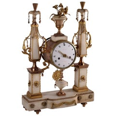 Table Clock Gilded Bronze and White Marble, France, 18th Century