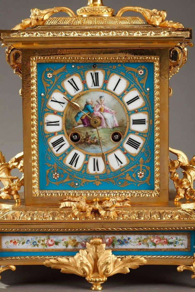 Louis XV Table Clock in Ormolu and Porcelain with Galant Scenes For Sale