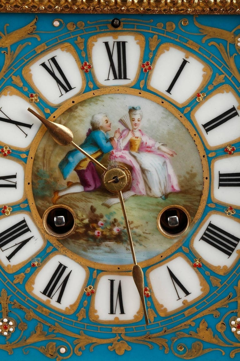 French Table Clock in Ormolu and Porcelain with Galant Scenes For Sale