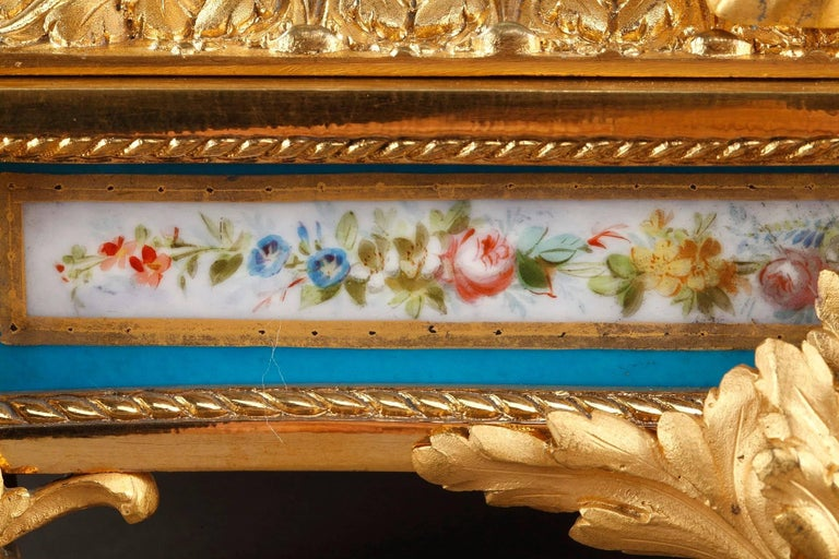 19th Century Table Clock in Ormolu and Porcelain with Galant Scenes For Sale