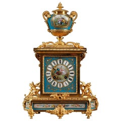 Table Clock in Ormolu and Porcelain with Galant Scenes