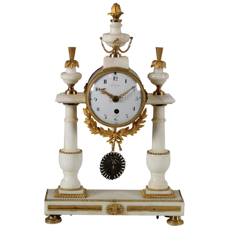 Table Clock Lèchopiè à Paris Marble Gilded Bronze, France, 1700s