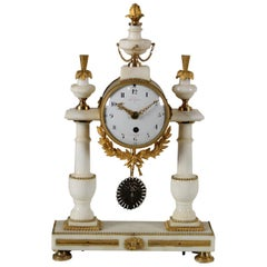 Table Clock Lèchopiè à Paris Marble Gilded Bronze, France, 1700s