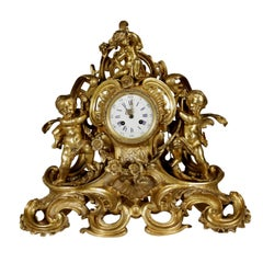 Table Clock Made of Gilded Bronze