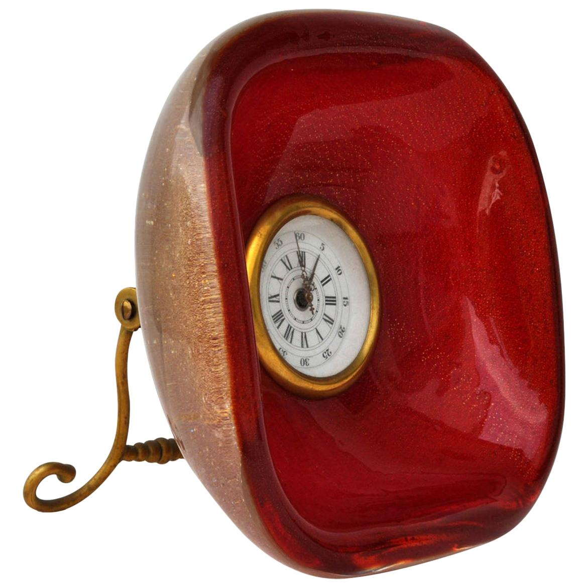 Table Clock Sommerso Glass by Seguso