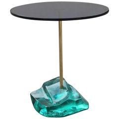 Table Coffee Blue and Green Crystal Saint Gobain 1950s Brass Gold Italian Design