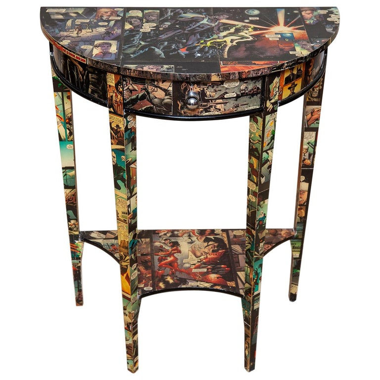 Table Console Demilune Cartoon Decorated Petite Modern, 20th Century For Sale