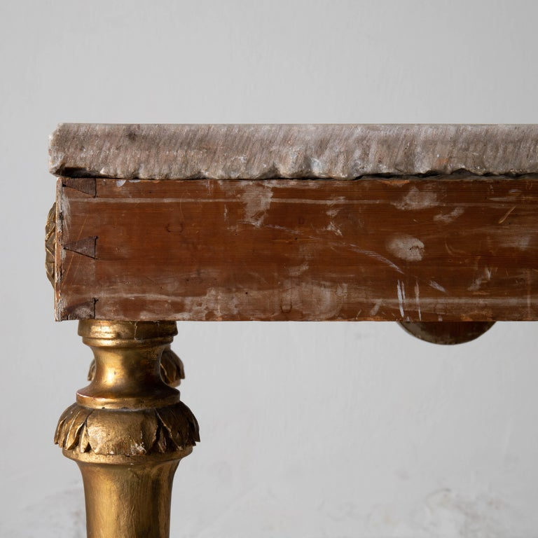 Marble Table Console Rare Quality Swedish Early Gustavian Gilded, 18th Century, Sweden For Sale