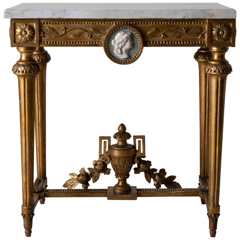 Table Console Rare Quality Swedish Early Gustavian Gilded, 18th Century, Sweden For Sale