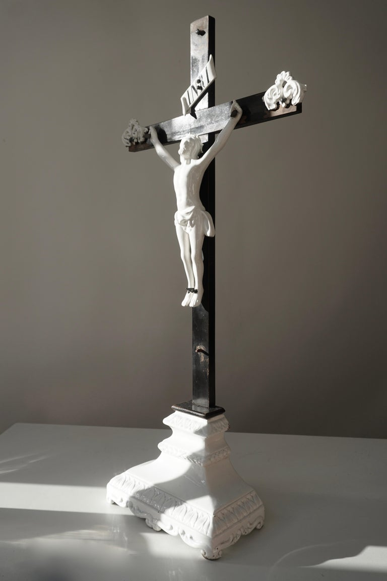 Belgian Table Crucifix with Porcelain Corpus of Christ For Sale