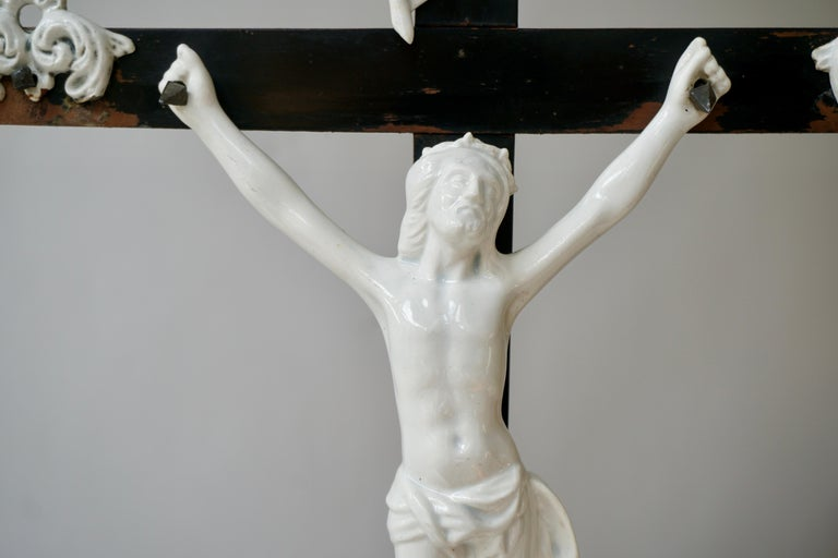 20th Century Table Crucifix with Porcelain Corpus of Christ For Sale