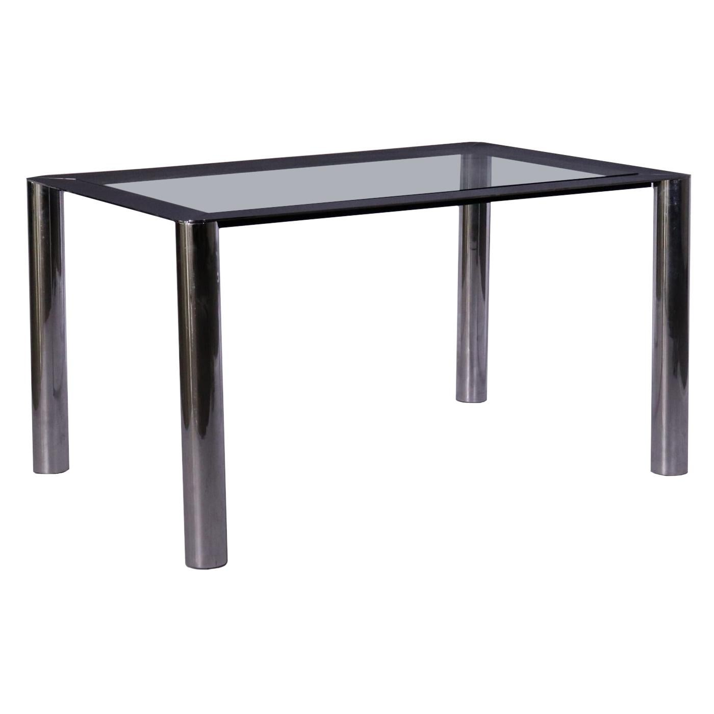 Table Designed for Cinova Metal Glass Vintage, Italy, 1970s