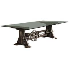 Table, Desk Base Vintage Industrial Adjustable Machine Age Crank Up Factory