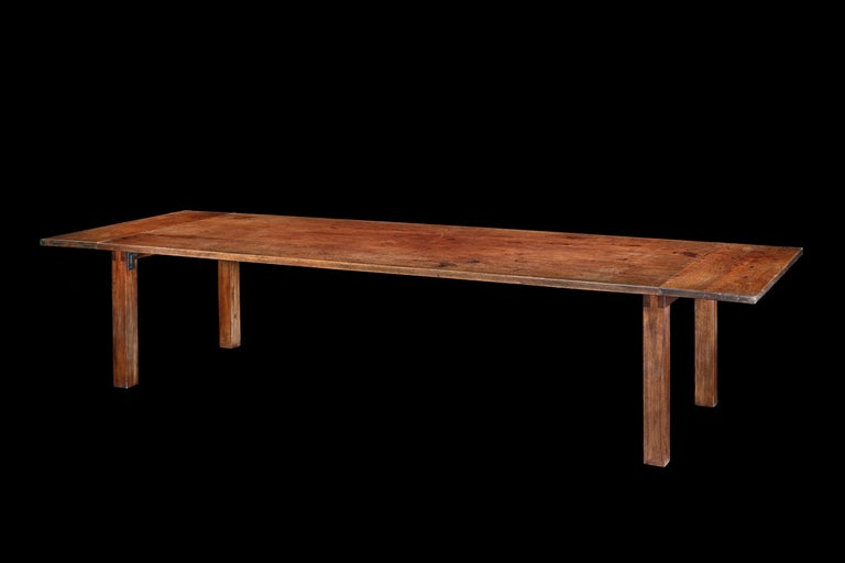 An exceptionally, rare & massive, 20-24-seat, Mid-Century Modern, solid, teak, table  - Exceptionally rare size, very few period tables are 4ft wide; Classic modern, uncluttered, design showcasing the rich lustrous color and beautiful figuring of