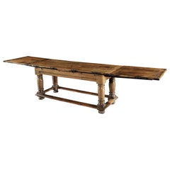Table, Drawleaf, 18-Seat, 16th Century, Italian, Renaissance, Walnut, Iron