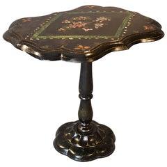 Table Ebonized Papier Mâché Mother of Pearl Side Lamp Wine Tilt, circa 1870