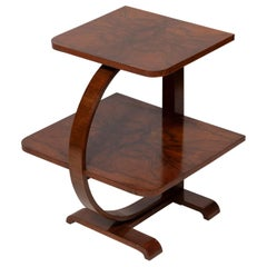 Table End Cocktail Table Two Tier Figured Walnut Art Deco Narrow