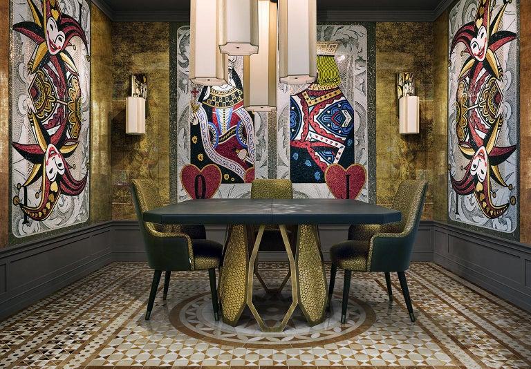Italian Table Frame Antique Bronze Finish Top Mirror Marble Liquid Metal Mosaic Insert For Sale