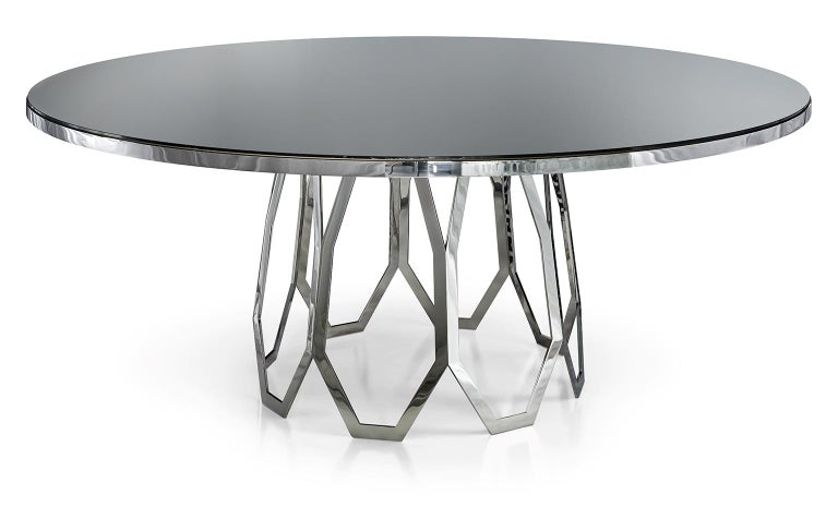 Modern Table Frame Polished Stainless Steel Top Available Mirror Marble & Liquid Metal For Sale