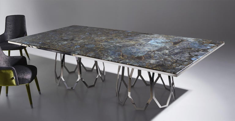 Italian Table Frame Polished Stainless Steel Top Available Mirror Marble & Liquid Metal For Sale