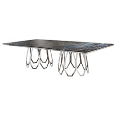 Table Frame Polished Stainless Steel Top Available Mirror Marble & Liquid Metal