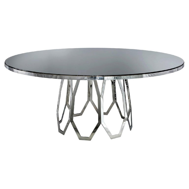 Table Frame Polished Stainless Steel Top Available Mirror Marble & Liquid Metal For Sale
