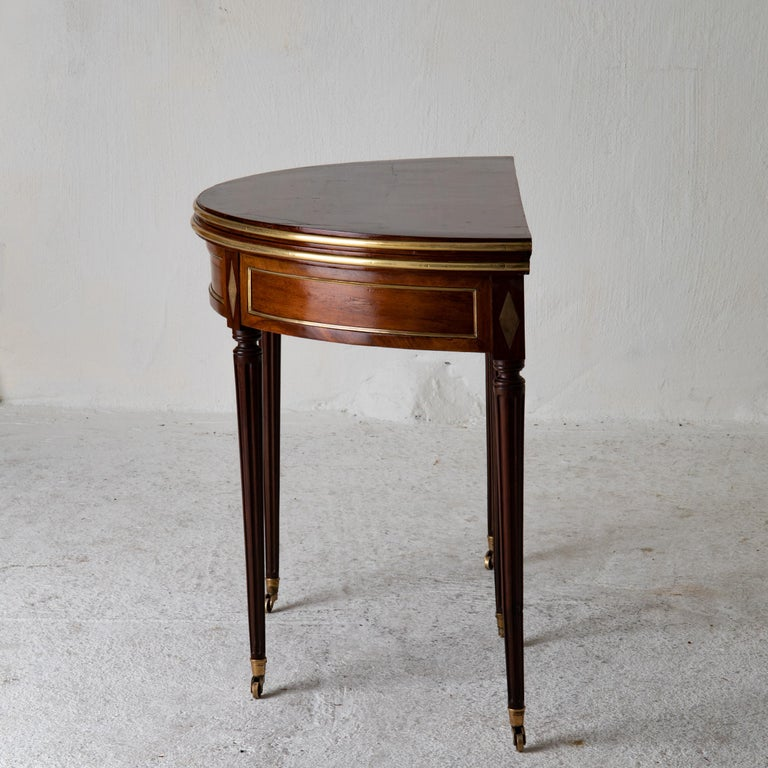 Table Game Directoire 19th French Mahogany Brass Leather Top France For Sale 4