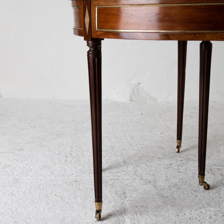 Table Game Directoire 19th French Mahogany Brass Leather Top France For Sale 6