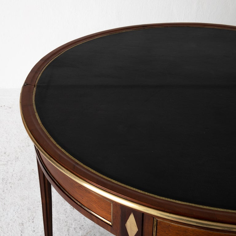 18th Century Table Game Directoire 19th French Mahogany Brass Leather Top France For Sale