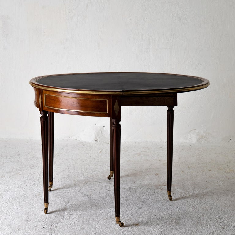 Table Game Directoire 19th French Mahogany Brass Leather Top France For Sale 1