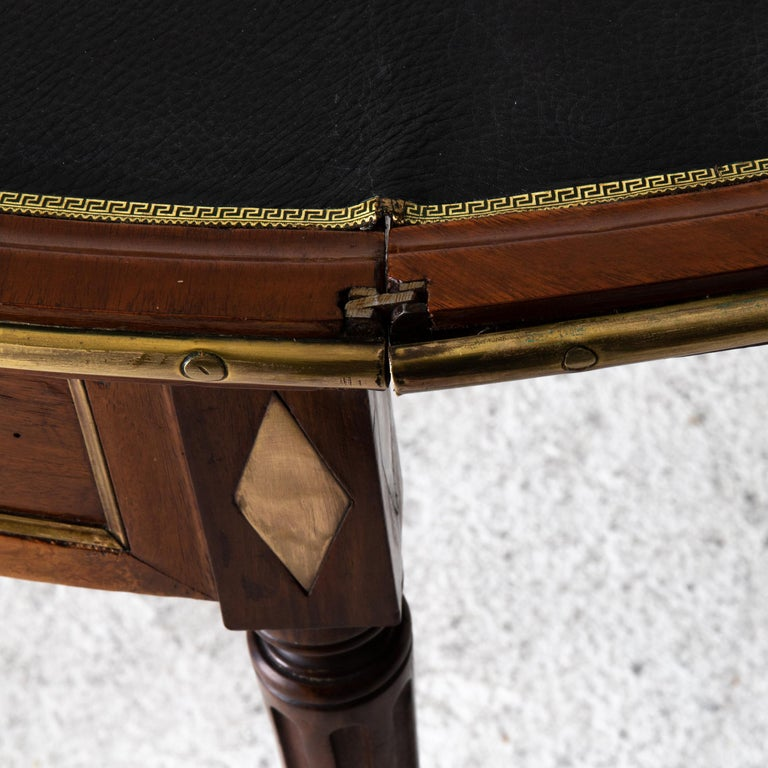 Table Game Directoire 19th French Mahogany Brass Leather Top France For Sale 3
