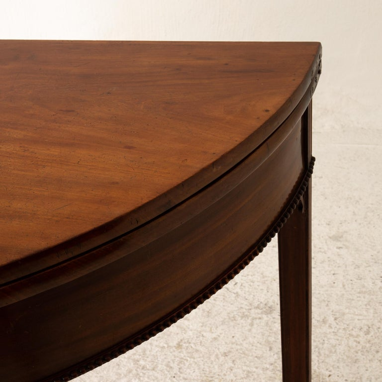 Table Game Table Gustavian Swedish Demi Lune Mahogany Brown, Sweden For Sale 5
