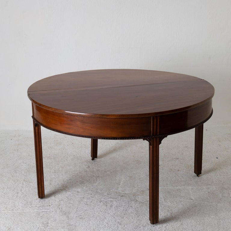 Table Game Table Gustavian Swedish Demi Lune Mahogany Brown, Sweden For Sale 6