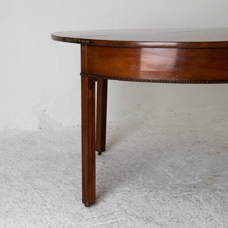 Table Game Table Gustavian Swedish Demi Lune Mahogany Brown, Sweden For Sale 7