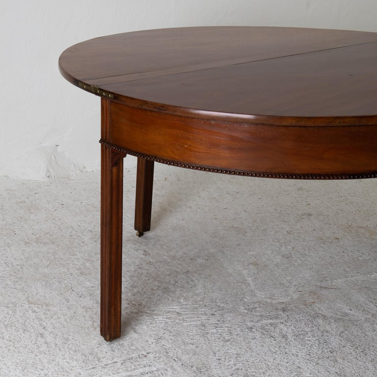 Table Game Table Gustavian Swedish Demi Lune Mahogany Brown, Sweden For Sale 8