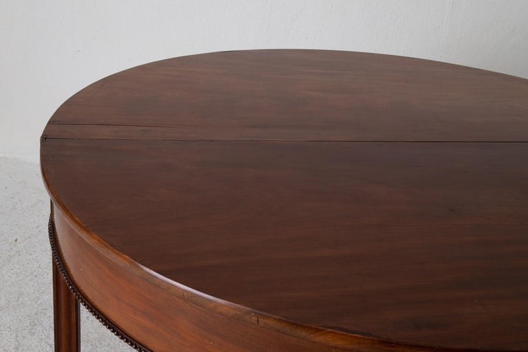 Table Game Table Gustavian Swedish Demi Lune Mahogany Brown, Sweden For Sale 9