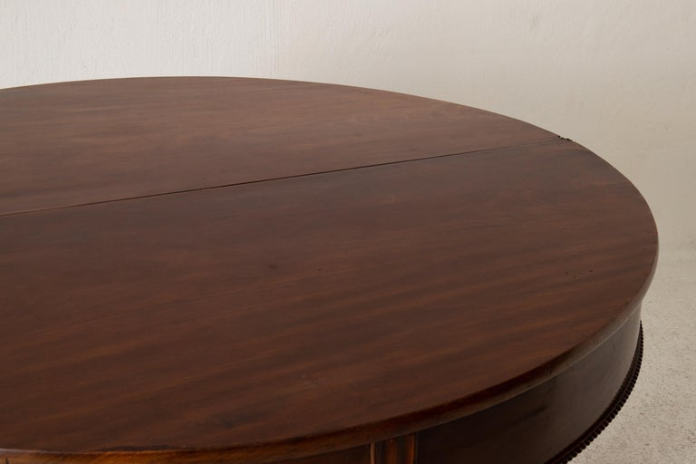 Table Game Table Gustavian Swedish Demi Lune Mahogany Brown, Sweden For Sale 10