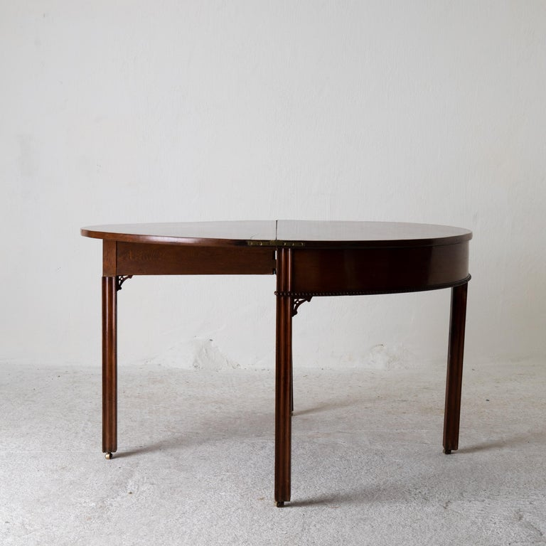 Table Game Table Gustavian Swedish Demi Lune Mahogany Brown, Sweden For Sale 11