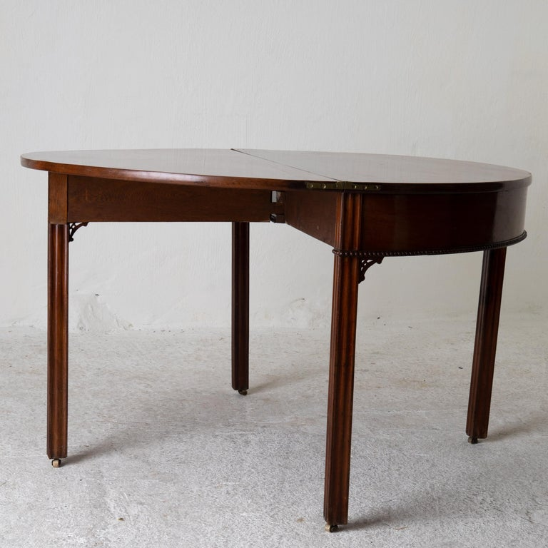 Table Game Table Gustavian Swedish Demi Lune Mahogany Brown, Sweden For Sale 12
