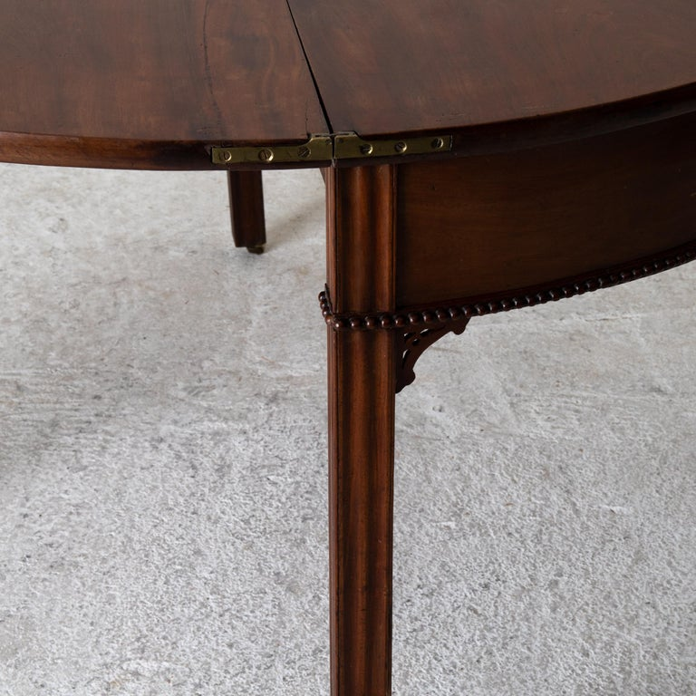 Table Game Table Gustavian Swedish Demi Lune Mahogany Brown, Sweden For Sale 13