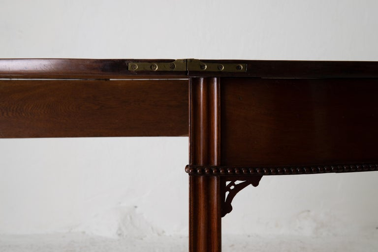 Table Game Table Gustavian Swedish Demi Lune Mahogany Brown, Sweden For Sale 14