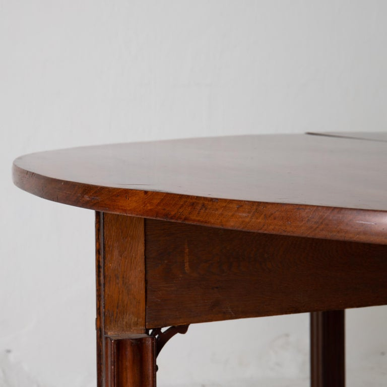 Table Game Table Gustavian Swedish Demi Lune Mahogany Brown, Sweden For Sale 15