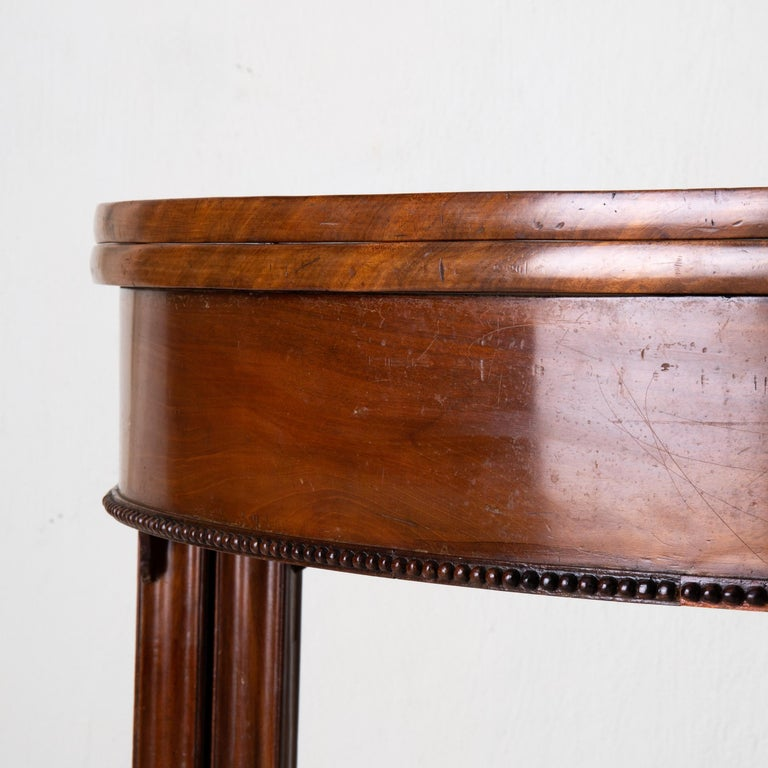 19th Century Table Game Table Gustavian Swedish Demi Lune Mahogany Brown, Sweden For Sale