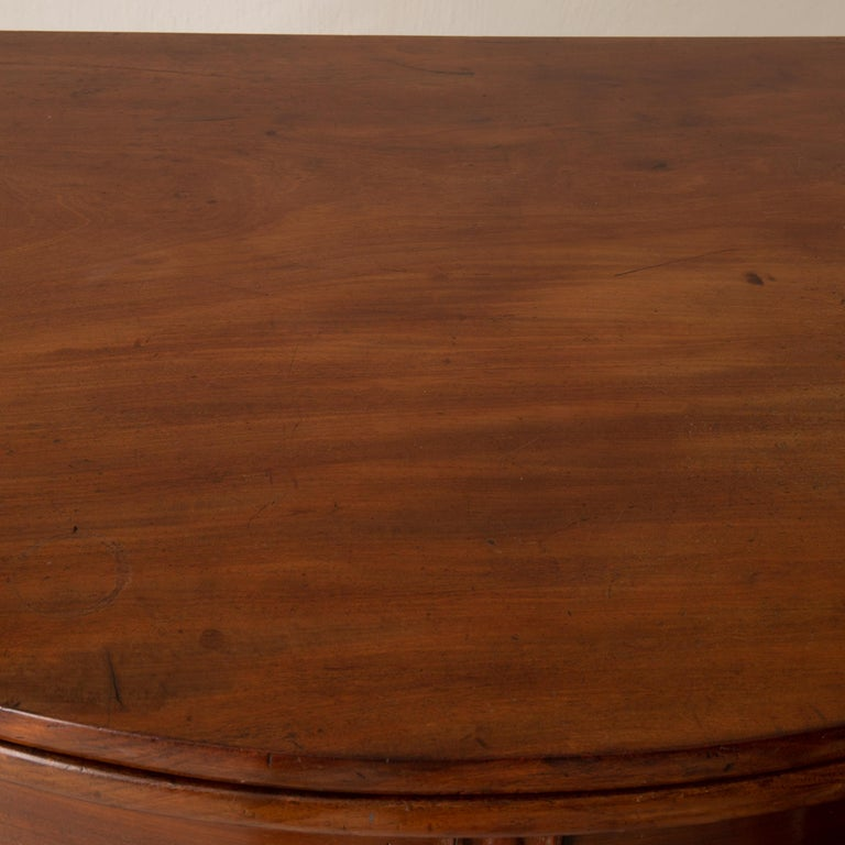 Table Game Table Gustavian Swedish Demi Lune Mahogany Brown, Sweden For Sale 3